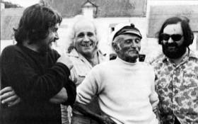 Maurice Frot, Léo Ferré, leur copain René Lochu, et Paul Castanier