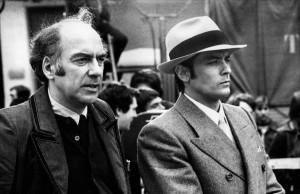 Jacques Deray et Alain Delon sur le tournage de Borsalino